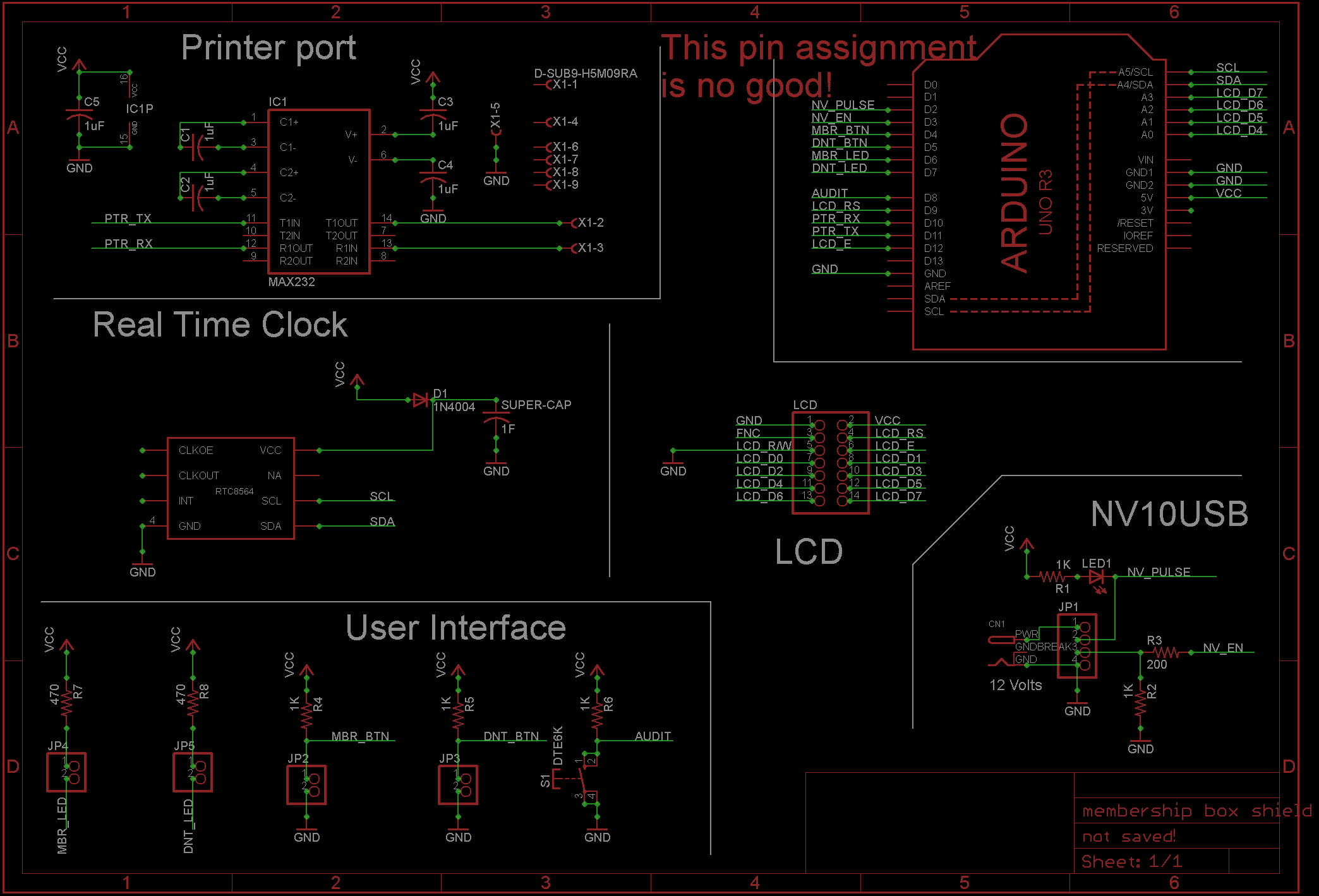 How Not To Layout A Pcb Arduino Real Time Clock Shield Schematic In My Last Post About The Bill Acceptor Project That I Had Made Preliminary Pin Count And Started Assigning Functions Various Pins